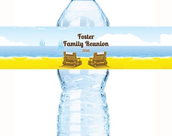 Family Reunion Water Bottle Labels, Family Reunion Favors,Reunion Favors, Bech Chairs, Reunion Decor, Reunion Party Favors, Reunion Favors