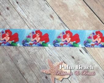 "1/3/5 yd cut of 7/8"" The Little Mermaid Ariel Ribbon"