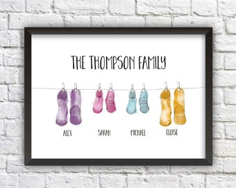 Personalised Wellington Boots Family Framed Print