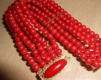 18K Oxblood Red 5 Strand Coral Bracelet