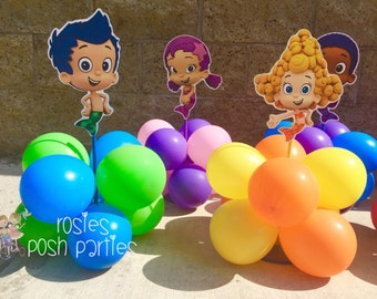 Bubble Guppies centerpiece Wood handcrafted with balloons for 1st 2nd 3rd 4th Birthday Centerpieces for cake table decoration Per piece