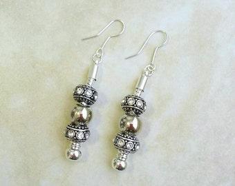 White Rhinestone Charm Dangle Drop Silver Plated Earrings