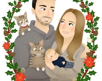 Custom Family Portrait Illustration with Pets