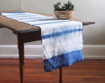 Hand Dyed Linen Shibori Table Runner: Stripe Pattern