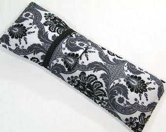 Insulated Curling Iron, Flat Iron, Hair Iron Travel Case in Greyscale Damask Fabric in 2 Different Sizes