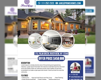 Real Estate advertising Flyer Template -Editable in Microsoft Word, Publisher, Powerpoint, Photoshop template INSTANT DOWNLOAD -KOR-017A