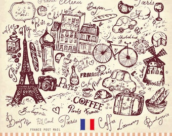 Paris symbols in engraving style . Fine art print. Beautiful print for living room or bedroom.