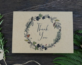 Seasonal Flora & Fauna Hand Drawn Wedding Thank You Cards, Spring, Summer, Autumn, Winter