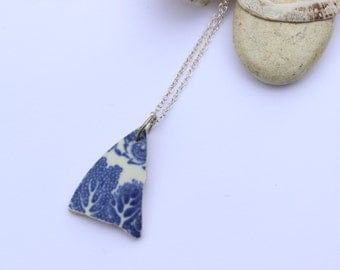 Sea Pottery & Sterling Silver Pendant. Willow Pattern