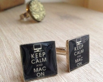 "Cufflinks ""Keep calm and mac on"""