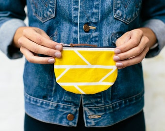 Coin Purse Mustard Yellow Convergence Print Graphic Screenprinted Cotton with Navy zip and hand-stamped leather puller - hand printed