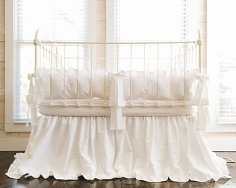 Baby Bedding - Crib Bedding - White Baby Bedding - White Crib Bedding Set - Cotton Ruffled Crib Bedding - Ruffled Crib Skirt - White Bedding
