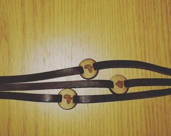 Men's Leather African Bracelet, three strap bracelet
