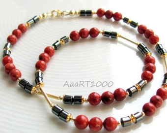 Coral necklace, 925 sterling silver, gold-plated with hematite in 44 cm length (KoHä206)