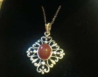 Re-Purposed Red Agate Necklace