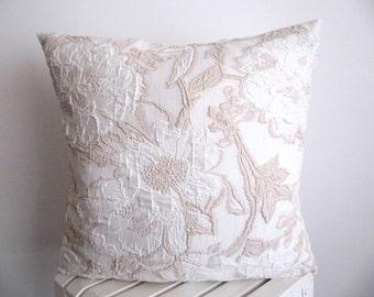 SALE!!Cream Pillow Cover  Floral Pillow Case  Cushion Cover Throw Pillow  Weaving Fabric Pillow Lurex Pillow Cover Deorative Pillow 18''