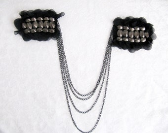 Lucera  Epaulet,Chain Epaulet, Gun Metal Shoulder Pads,Shoulder Embellishment, Costume Accessory,Beaded Epaulet