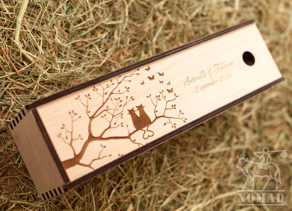 Wooden Wine Box Wedding Gift : Personalized Wine Box Love Cats Wood Wine Box Love Story