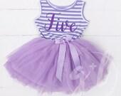 Fifth birthday outfit dress, 5th birthday Dress, Sophia the first, tutu dress for girls 5th birthday, Purple tutu
