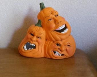 Ceramic Medium Stack of Pumpkin With faces (#368)