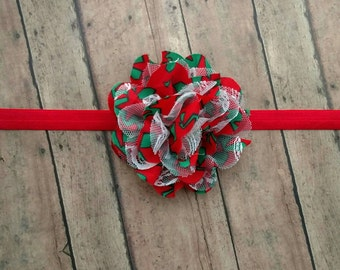 Christmas flower headband featuring red and green print with white lace on your choice of colored band for baby, toddler and adult