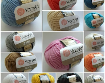 9 colors - YarnArt Jeans Yarn - cotton and acrylic blend, perfect for amigurumi 50g per ball