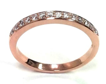 0.22ct Traditional Bridal 14K Rose Gold Wedding Band with Diamonds