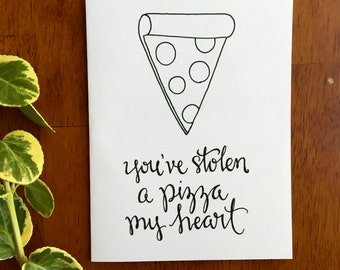 Valentine, Pizza My Heart, Printable Valentine, Pizza Greeting Card