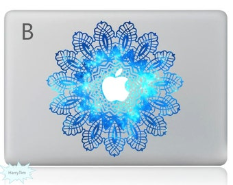 Blue Flower Decal Mac Stickers Macbook Decals Macbook Stickers Apple Decal Mac Decal Stickers Laptop Decal