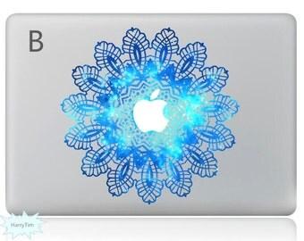Blue Flower Decal Mac Stickers Macbook Decals Macbook Stickers Apple Decal Mac Decal Stickers Laptop Decal
