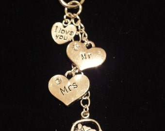 JUST MARRIED gift, bag charm, key chain.