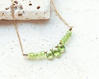 Peridot Beaded Gold Necklace, Gold Peridot Briolette Necklace, Natural Crystal Jewellery, Gemstone Necklace, August Birthstone