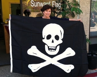 4'x6' Jolly Roger Flag, Skull and Crossbones, black and white, Applique Flag, Pirate Flag, Custom Sizes Available