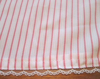 White & coral stipe/lace trim baby girl receiving blanket. FREE SHIPPING!