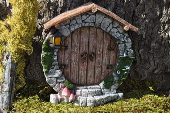 Fairy door round hobbit whimsical fairy garden doorfairy for Large gnome doors
