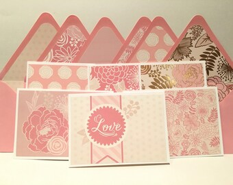 Blank pink floral greeting (cards set of 6)