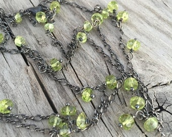 Peridot and Oxidized Sterling Silver Necklace/ Peridot Gemstone Necklace/ Vintage Style Necklace/ Sundance Style/ August Birthstone