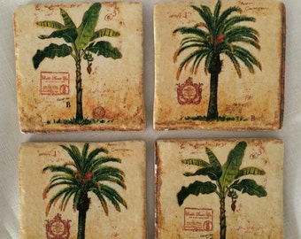 stone tile coasters palm tree decorsquare drink coasterscoffee table decor - Palm Tree Decor