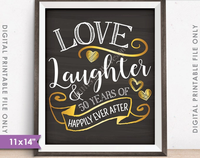 """50th Anniversary Gift, Love Laughter Happily Ever After 50 Years of Marriage Milestones, 11x14"""" Instant Download Digital Printable File"""