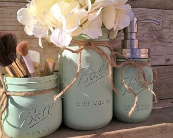 Painted Mason Jar Bathroom Set, Sage, Painted Mason Jars, Bathroom Decorations,Mason Jar Bathroom Decor, Painted Jars for Bathroom, Ball