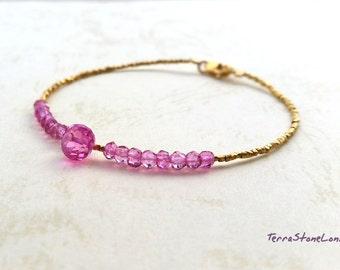 Pink Topaz and 24K gold Vermeil Beads Bracelet, Gemstone Bracelet, Natural Pink Topaz Bracelet, November Birthstone