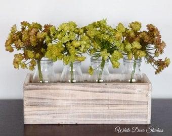 Faux Succulent Centerpiece | Rustic Decor | White Wood Planter with Succulents | Farmhouse Decor