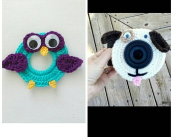 Owl and puppy camera buddy set. Squeakers on back