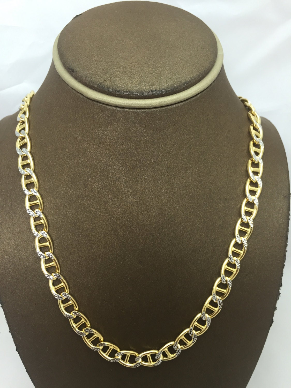 10K Solid Yellow Gold 7.6MM Hollow Gucci Diamond Cut Chain