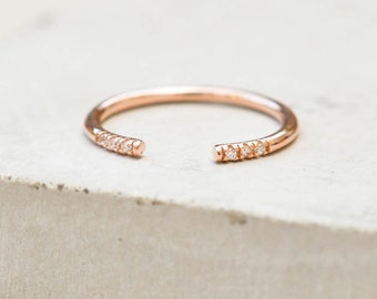 Dainty, thin Open, Adjustable, Regular/Midi Knuckle ring - ROSE GOLD - Stacking Band Ring with 6 mini CZ Stones - quarter eternity band