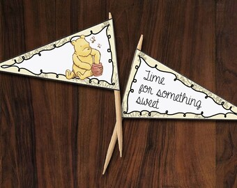 Winnie the Pooh Cupcake Flags ~ INSTANT DOWNLOAD