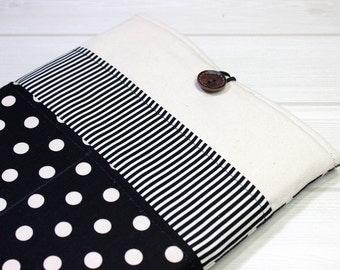 Macbook Air case, Macbook sleeve 12, 11 inch laptop case, polka dot laptop case, 12 inch laptop cover, retro Macbook case, black laptop case