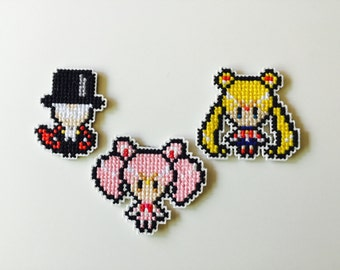 Cross Stitch Sailor Moon Pin/Magnet Set