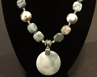 Handmade Blue Lace Agate & Pearl Pendant Necklace made with Sterling Silver, Ready to Ship!