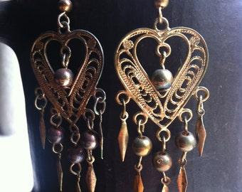 Vintage Gold Heart Boho Earrings